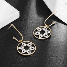цена на Hongye Star Pearl Earrings Long Tassel Hollow Out Dangling Fashion Trend Gold Color Costume Jewelry Drop Earrings for Women