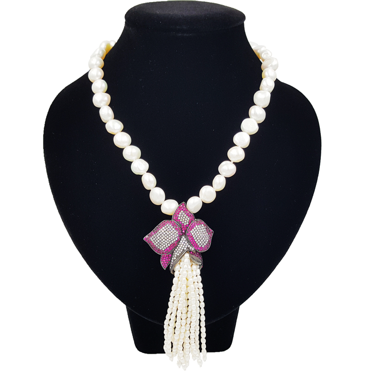 Фото LiiJi Unique Natural Baroque Freshwater Pearl 10-11mm Crystal Flower Pendant Tiny Pearl Tassels Nice Gift for Women 45cm/18