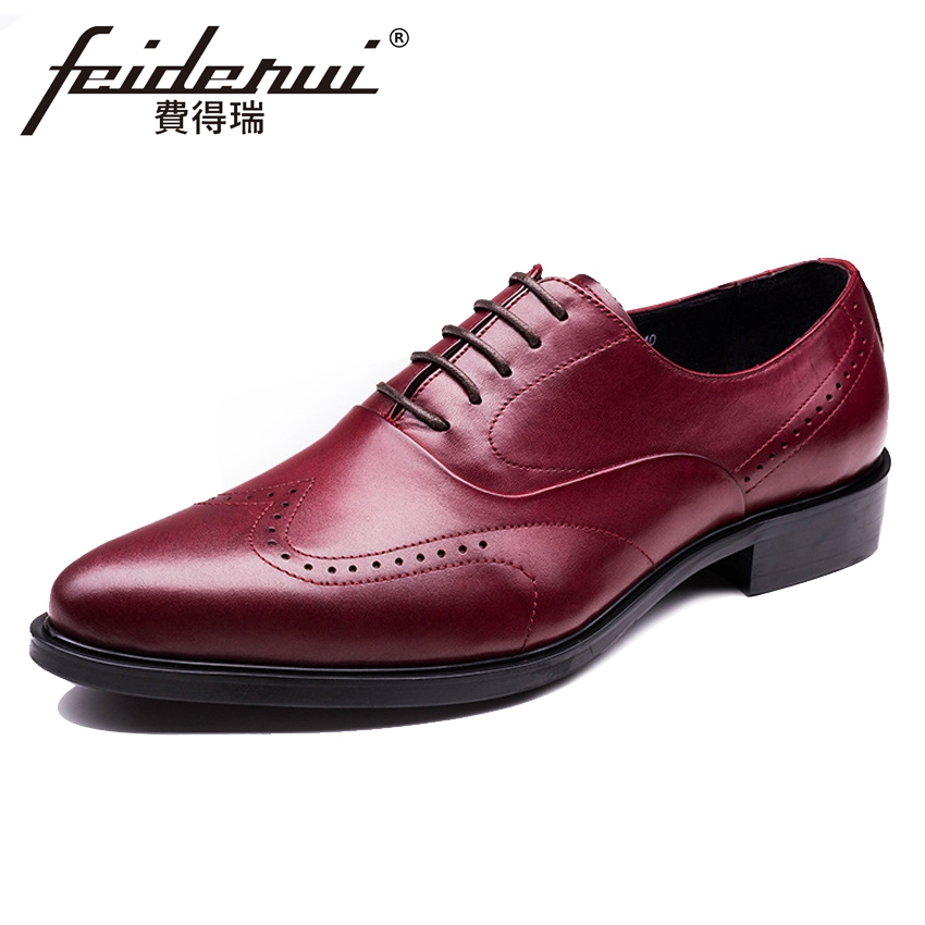 New Vintage Genuine Leather Men's Handmade Oxfords British Style Pointed Toe Carved Man Formal Dress Wedding Brogue Shoes YMX527 цена и фото