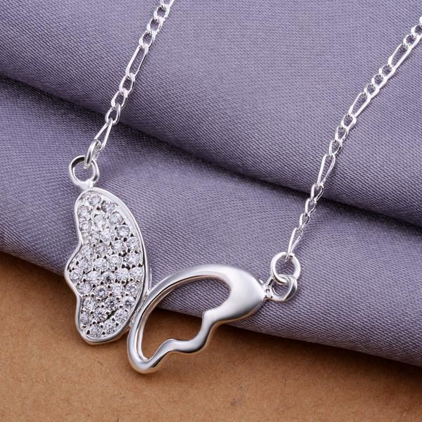 Free Shipping butterfly Necklace Jewelry For Women Girl Accessories Pendant Toy Gift silver necklace 925 women LKNSPCN311