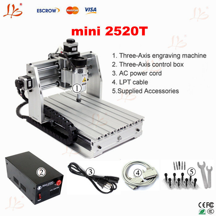 Cheap price 3 axis mini cnc milling machine 2520T, desktop mini cnc router,  No tax to Russia! cnc 5axis a aixs rotary axis t chuck type for cnc router cnc milling machine best quality