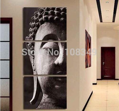 Peint à la main en noir et blanc figure classique de bouddha peinture à l'huile toile peinture à l'huile 3 pièces un ensemble