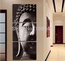 Hand painted Black and white classic figure of Buddha Oil Painting Canvas painting 3Pcs A Set