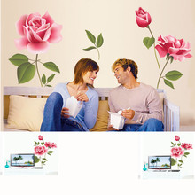 DIY rose flower pattern removable vinyl decal home decor wall sticker high quality on hot selling