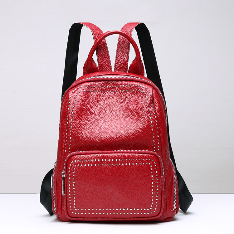 Fashion Rivet Women Backpack Genuine Leather Brand Designer Women Leather Backpack 2018 Soft Casual Young Girl School Bag 2018 new rivet pu leather backpack women fashion school bag casual patent leather travel bag women backpack monster school bag