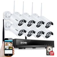 ZOSI 8ch 960p Wifi NVR 2TB HDD With 8 Pcs Waterproof IR Bullet Wireless IP HD