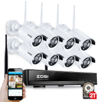 ZOSI 8ch 960p Wifi NVR 2TB HDD With 8 Pcs Waterproof IR Bullet Wireless IP HD