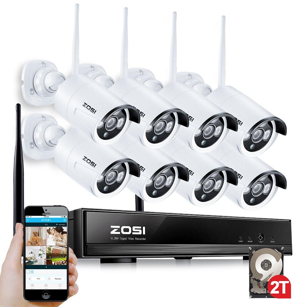 ZOSI 8ch 960p Wifi NVR 2TB HDD with 8 pcs Waterproof IR Bullet Wireless IP HD Camera/Wireless CCTV system kit корпус для hdd orico 9528u3 2 3 5 ii iii hdd hd 20 usb3 0 5