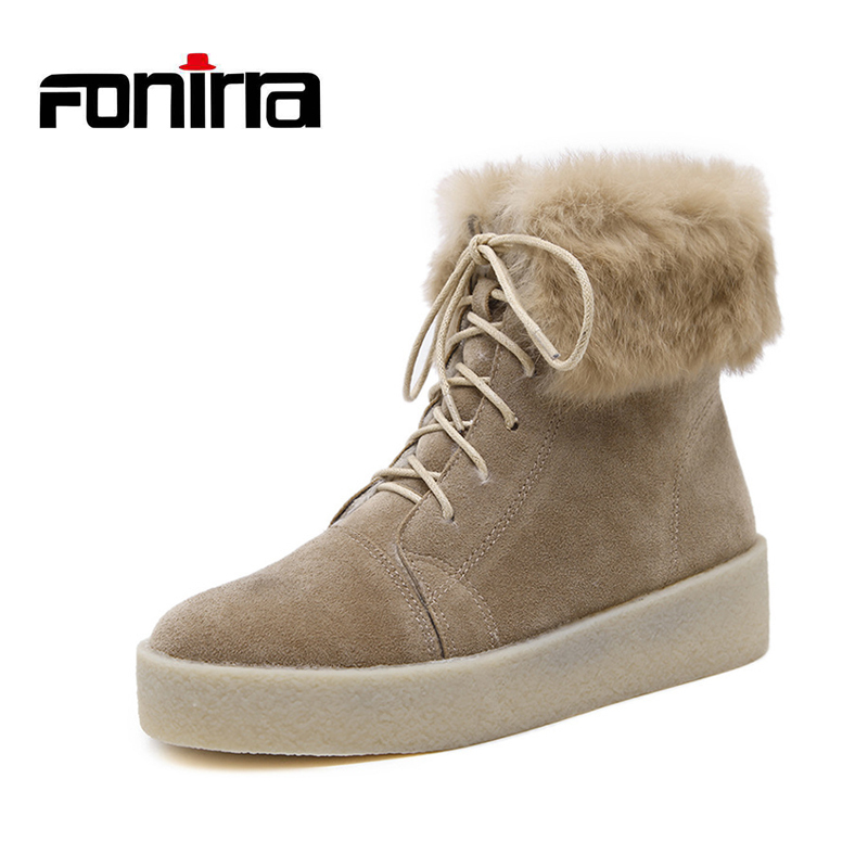 FONIRRA Snow Ankle Boots Women Keep Warm Winter Boots Cow Suede Leather Real Rabbit Fur Ladies Snow Boots Platform Shoes 808 2017 cow suede genuine leather female boots all season winter short plush to keep warm ankle boot solid snow boot bota feminina