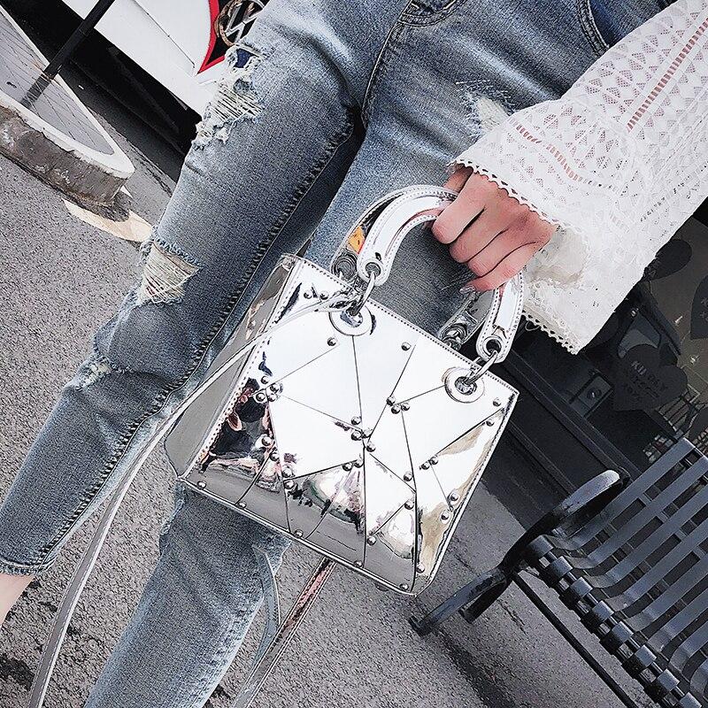 British Fashion Female bag 2018 Summer Fashion New Handbag Tote bag High quality PU Leather Women bag Mirror Handle Shoulder Bag