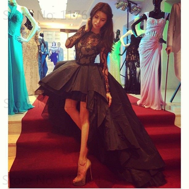 Sexy Black Taffeta Long Lace Sleeve High Low Prom Dress For Special ... f64a57acd