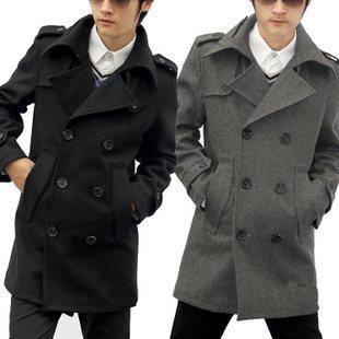 Black grey Men's clothing new arrival medium-long woolen overcoat male slim wool blend coat jackets men woolen coats