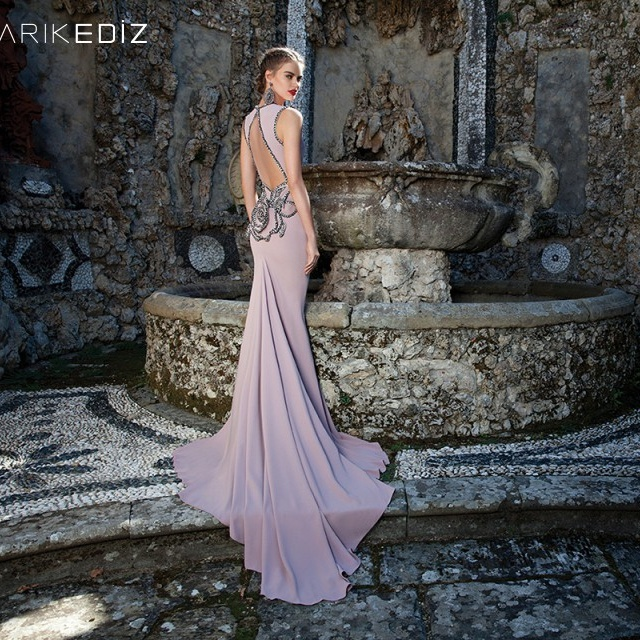 65ef2755266 2015 Tarik Ediz Plunging Neckline Mermaid Evening Party Dresses Chiffon Beaded  Sleeveless Backless Sweep Train Prom Dress Gowns