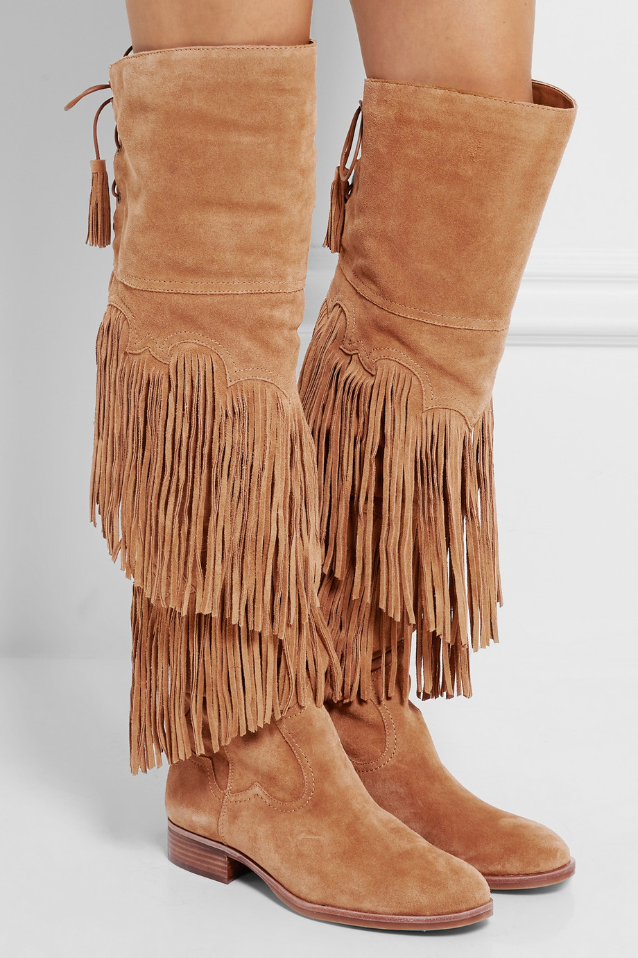 Winter Brown Fringed Over the Knee Boots Fashion Back Lace-up Flat Tassel Boots Woman Riding Boots High Quality Boots choudory new brown long fringe boots fashion tassel woman riding boots winter over the knee genuine leather motorcycle boots