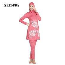 XREOUGA Branded Female Women Plus Size print Muslim Beachwear Muslim Swimwear Islamic Swimsuit Conservative Suit MS09