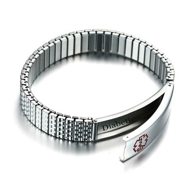 Mens Medical Alert Privacy Id Tag Bracelet Stretch Elastic Wriststrap Stainless Steel Braslet Uni Jewelry Free