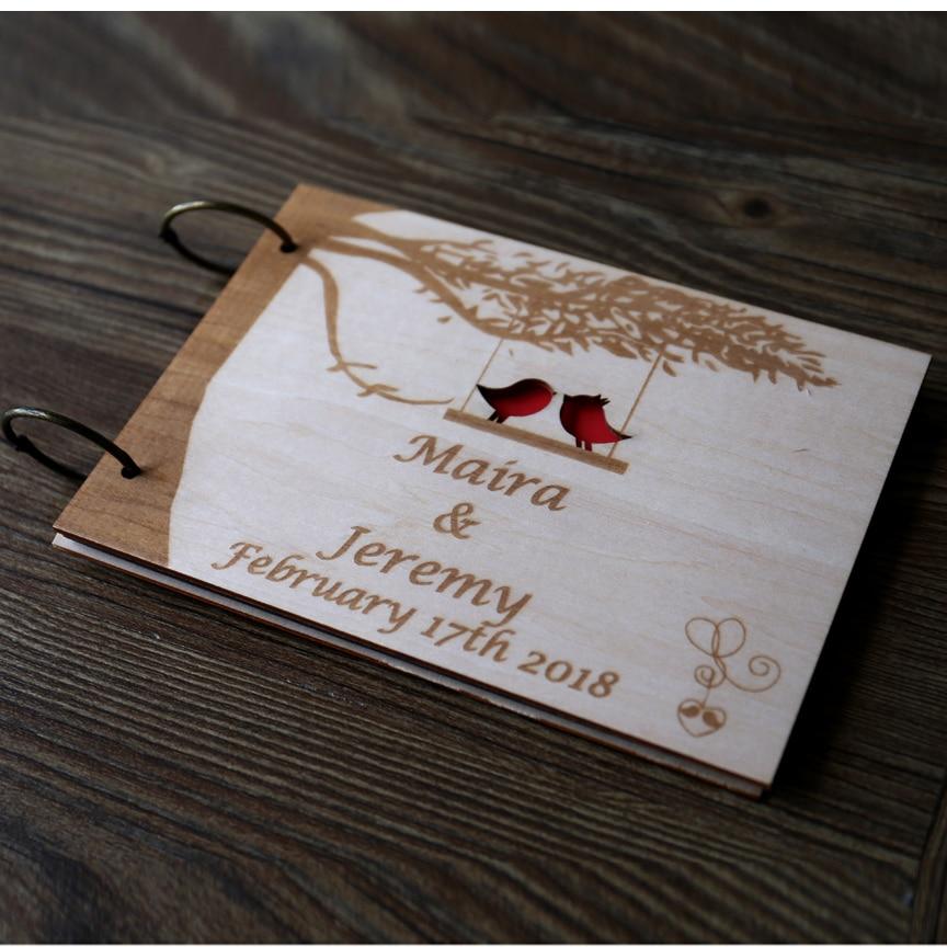 16 79 27 De Reduction Livre D Or De Mariage Personnalise Livre D Or Rustique Livre D Or D Oiseaux D Amour Signe De Mariage D Arbre Dans Le
