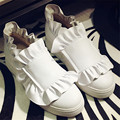 Fashion White Flats Genuine Leather Ruffles Design Casual Flat Shoes Slip On Height increasing Espadrilles Trainers Creepers