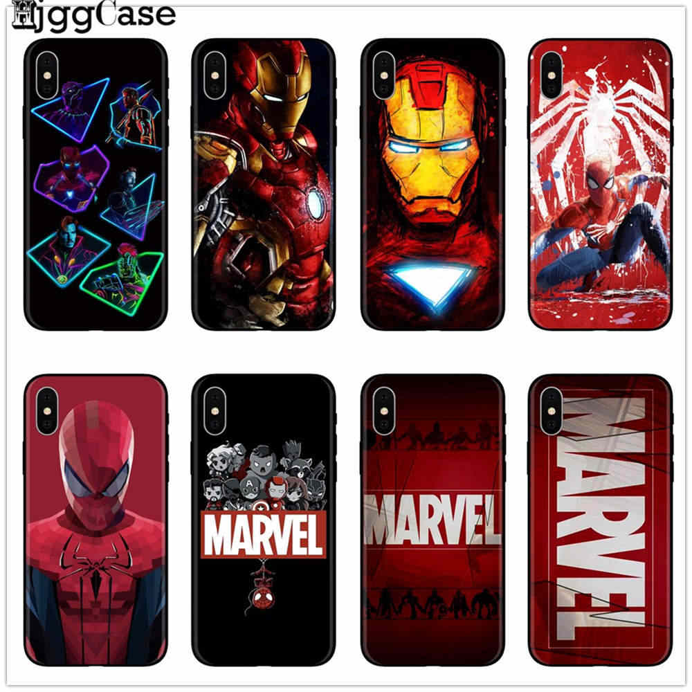 Для iphone 7 6X7 plus чехол Marvel Мстители Герои комиксов коллаж черный чехол для телефона для iphone 6 6s 7 8 plus 5 5S SE XS XR XS MAX