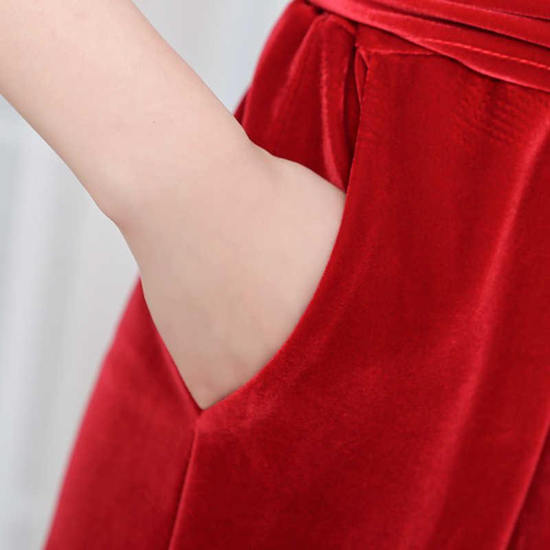 Nerazzurir Longo macacão de veludo com mangas para as mulheres 2019 elegante vermelho preto plus size perna larga caixilhos maxi até o chão romper