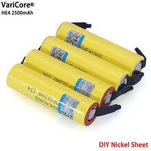New Original HE4 2500mAh Li lon Battery 18650 3.7V Power Rechargeable batteries Max 20A,35A discharge + Nickel sheet