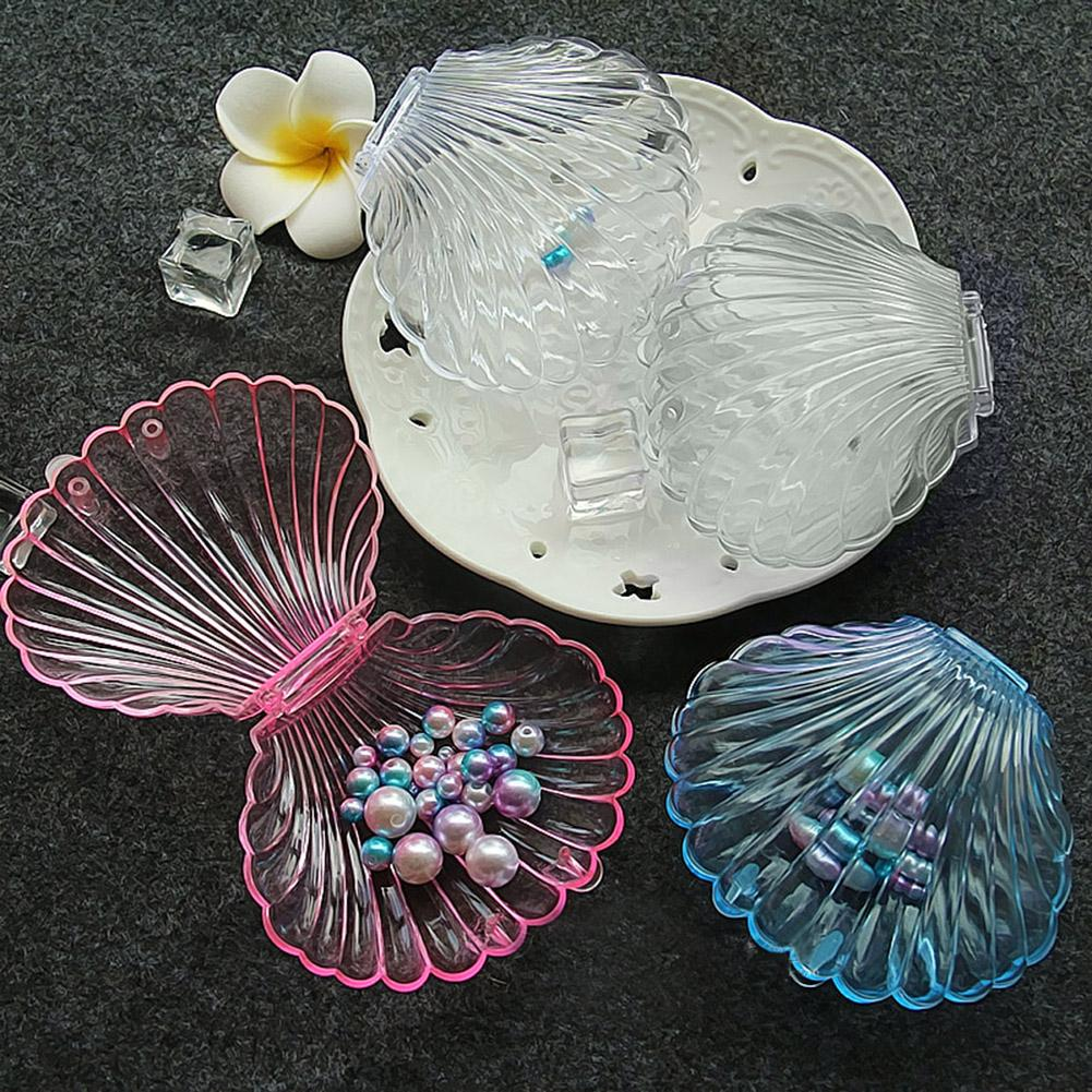 Transparent Seashell Shape Jewelry Box Necklace Bracelet Storage Organizer Box Case Wedding Engagement Jewelry Display Holder