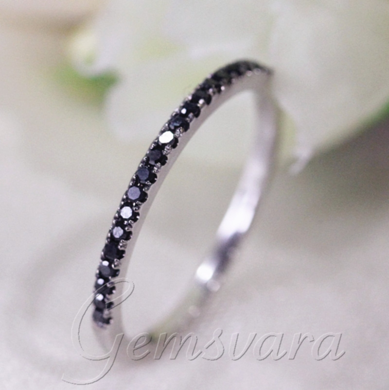 f5b42b8ad32817 Half Eternity 0.25ct Black Diamonds 14K White Gold Wedding Bands Engagement Ring  Diamond Jewelry-in Rings from Jewelry & Accessories on Aliexpress.com ...