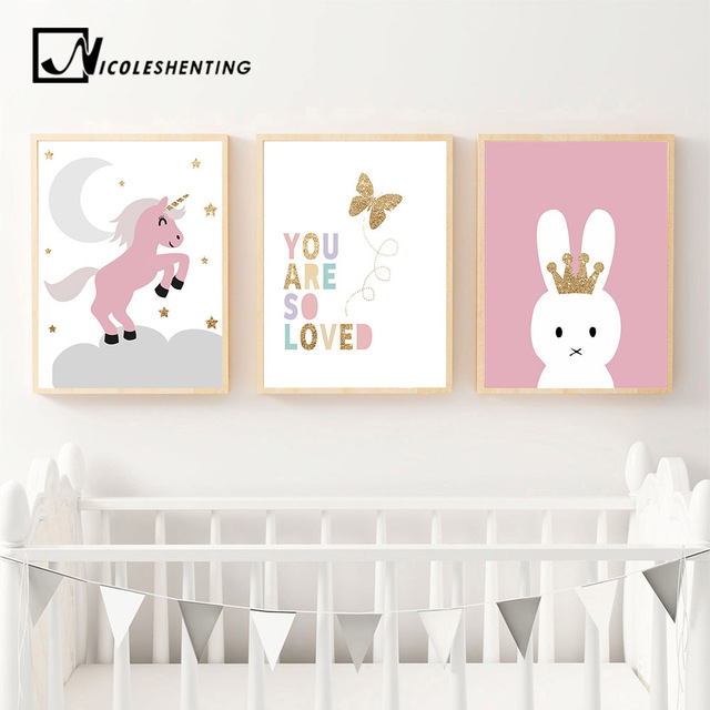 Kawaii Rabbit Unicorn Nordic Wall Art Canvas Posters And Prints Cartoon Painting Nursery Pictures Kids