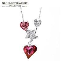 Neoglory austria kryształ & czeskich rhinestone długi naszyjnik miłość serce z star design alloy plated romantic stylowy prezent