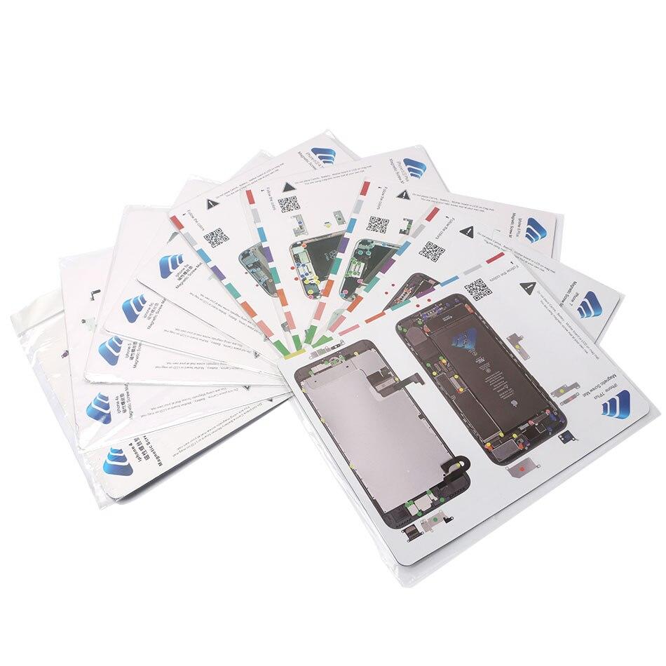 11 pièces tapis à vis magnétique pour iPhone 4,4 s, 5, 5c, 5 s, 6,6 Plus, 6 s, 6 s Plus, 7,7 Plus outils de réparation de téléphone portable Guide professionnel