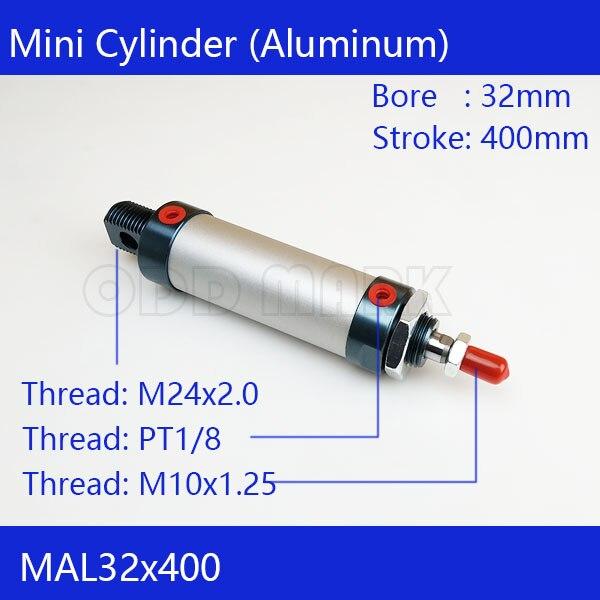 Free shipping barrel 32mm Bore 400mm Stroke  MAL32x400 Aluminum alloy mini cylinder Pneumatic Air Cylinder MAL32-400 32mm bore 75mm stroke aluminum alloy pneumatic mini air cylinder mal32x75 free shipping