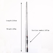 2.1m 100% Carbon Fiber Rod Spinning Fishing Rods Casting Travel Rod 2 Sections Fast Action Fishing Lure Rod цена 2017