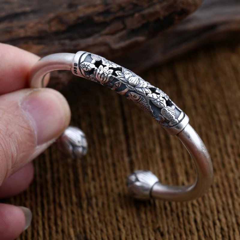 Bijoux Carters Head over mid annular purse Bangles 100% S990 sterling silver Bracelet Bangle for men or women jewelry  GB14-in Bangles from Jewelry & Accessories    1
