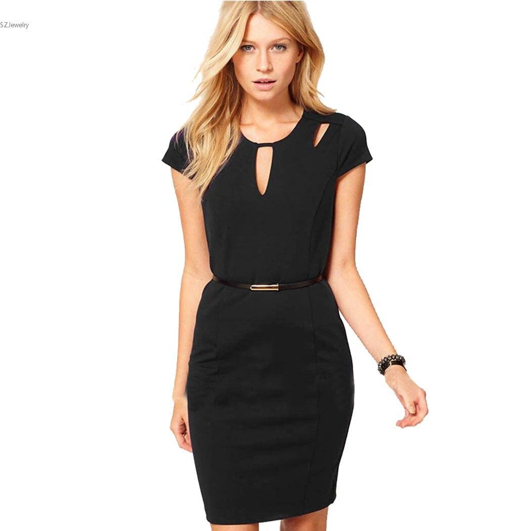 Black dress office - Womens Dresses Sleeve Slim Black Dress Office Lady Pencil Vestido Back Zipper Clothing Cut Out Vestiti