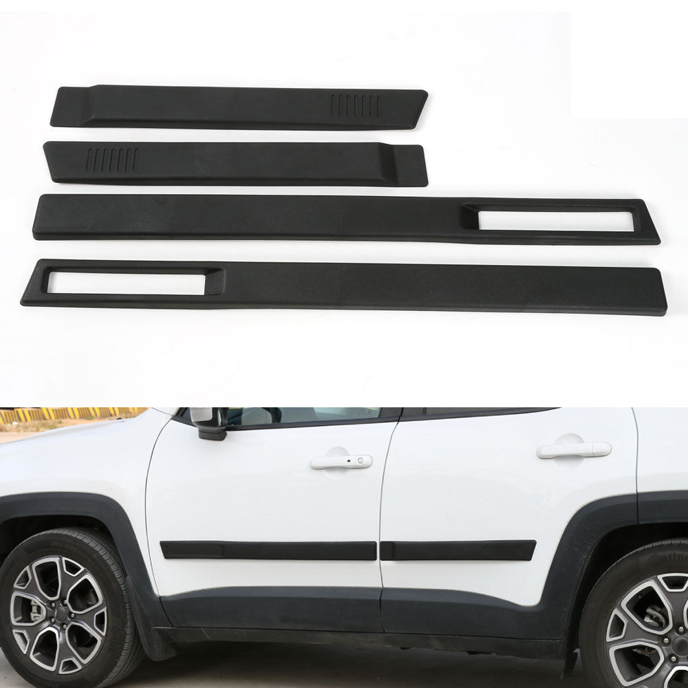 BBQ@FUKA 4pcs Car Body Side Door Cover Trim Kit Molding Protector Sticker Styling Fit For Jeep Renegade 15-2016 Car Accessories abs chrome side molding garnish cover trim body kits car styling accessories for jeep grand cherokee 2014 15 16