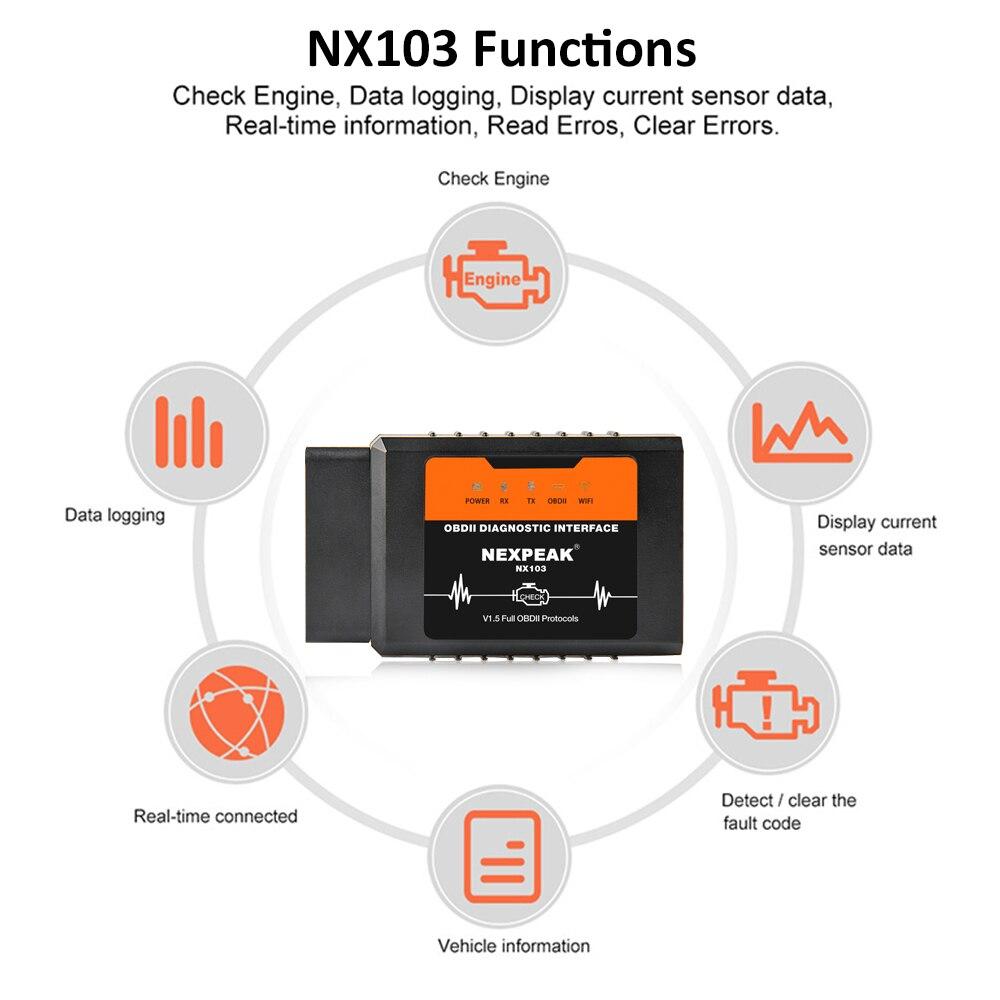 Negro Kinshops Elm327 Wireless V1.5 Obd2 Car Scanner Obdii Car Diagnostic Tester para Todos los Modelos est/ándar OBD-II