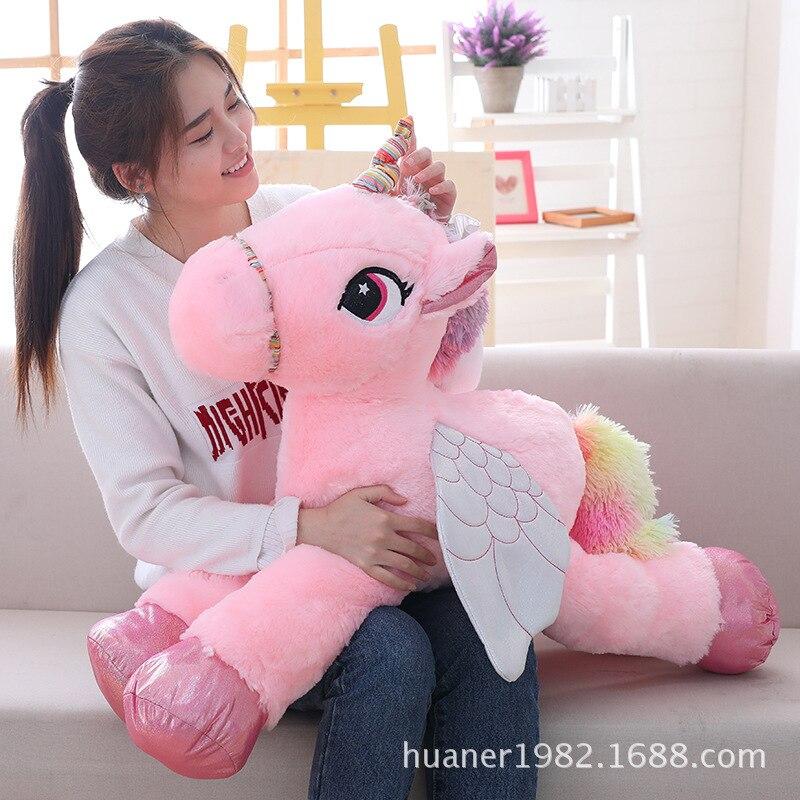 Large licorne Cute Pink Blue White Unicorn Doll Plush Toy Stuffed unicornio animal girl Birthday Gift