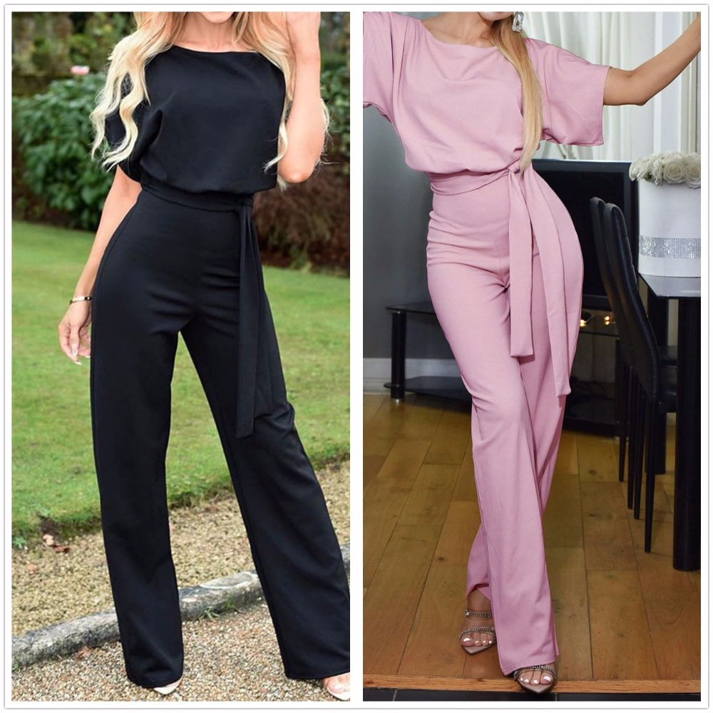 Plus Size Casual Women Jumpsuit Summer 2019 Short Sleeve Lace-up Loose Jumpsuit Backless Elegant Female Office Summer Romper 3XL
