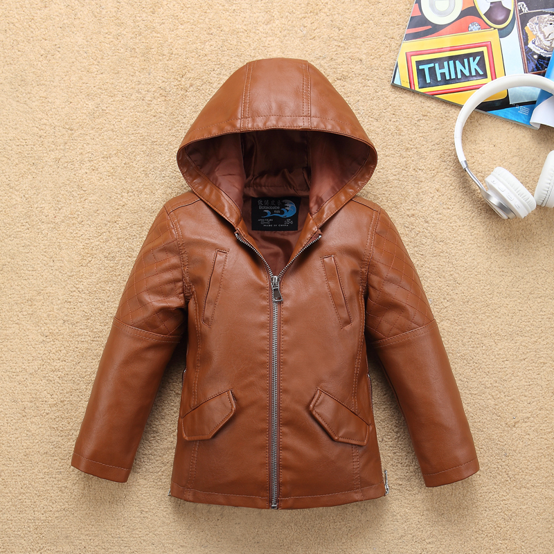 7aa69e416f15 Brown Big Boys Leather Jacket Turn Down Collar Toddler baby ...