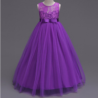 Brand Quality Girls Party Dress Sleeveless Kids Peagant Lace Dress Teens Floor Length Prom Gown For
