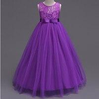 Qualidade da marca Meninas Vestido de Festa Sem Mangas Crianças Adolescentes Peagant Vestido de Renda Até O Chão vestido de Baile para o Desgaste Da Menina de Flor Formais