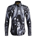 2017 new arrival Digital Print classics autumn fashion high qualtiy long-sleeved tide brand men's shirts plus size M- 4XL g16155