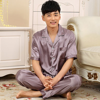 A109 Summer New Imitation Sexy Silk Pajamas Men Short Sleeve Suit Young Men Thin Section Silk
