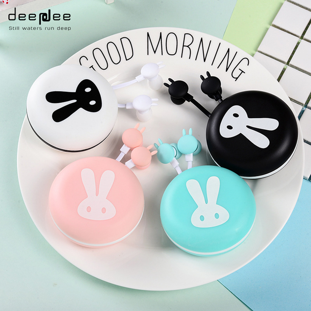 DEEPDEE Rabbit Shape Cute Wired Earphone Portable Coloful Fashionable Music Noodle Cable with MIC Storage Box for Mobilephone