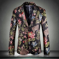 Super Quality Flower Printed Prom Suit Jacket Mens Blazer 2019 Spring Slim Fit Blazer Mascculino Blazer Male 12#35D50