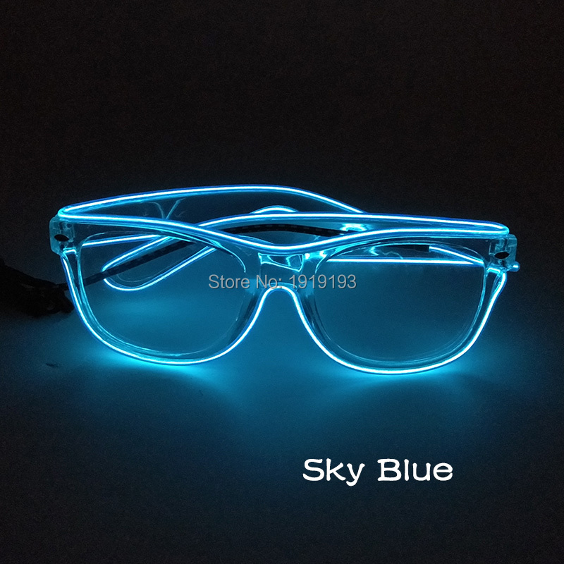 Music Sensitive Led Strip Transparent Frame Twinkling Glasses Luminous EL Wire Cold Light Sunglasses for Fluorescent Party Props stylish led cold light evening party glasses yellow 2 x aa