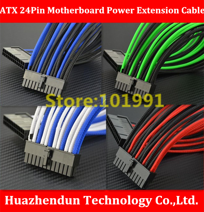 все цены на High Quality ATX 24Pin Motherboard Power Extension Cable  50CM  Four colors for  your choice   18AWG   24Pin  Extension Cable онлайн