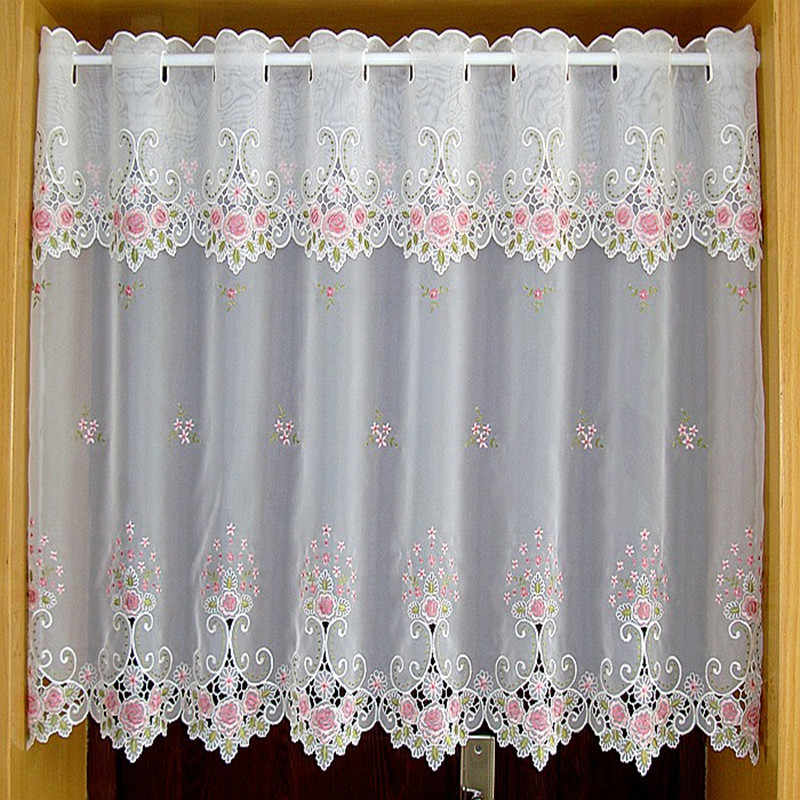 Countryside Half-curtain Embroidered Tulle Valance Light Shading Coffee Curtain for Kitchen for Cabinet Door A-105