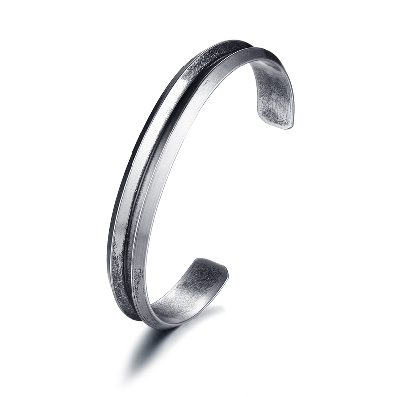 Mens Cuff Bang Bracelets Antique Silver Color Curved Groove Bangle For Women Men Vintage Stainless Steel Braslet Unisex Jewelry