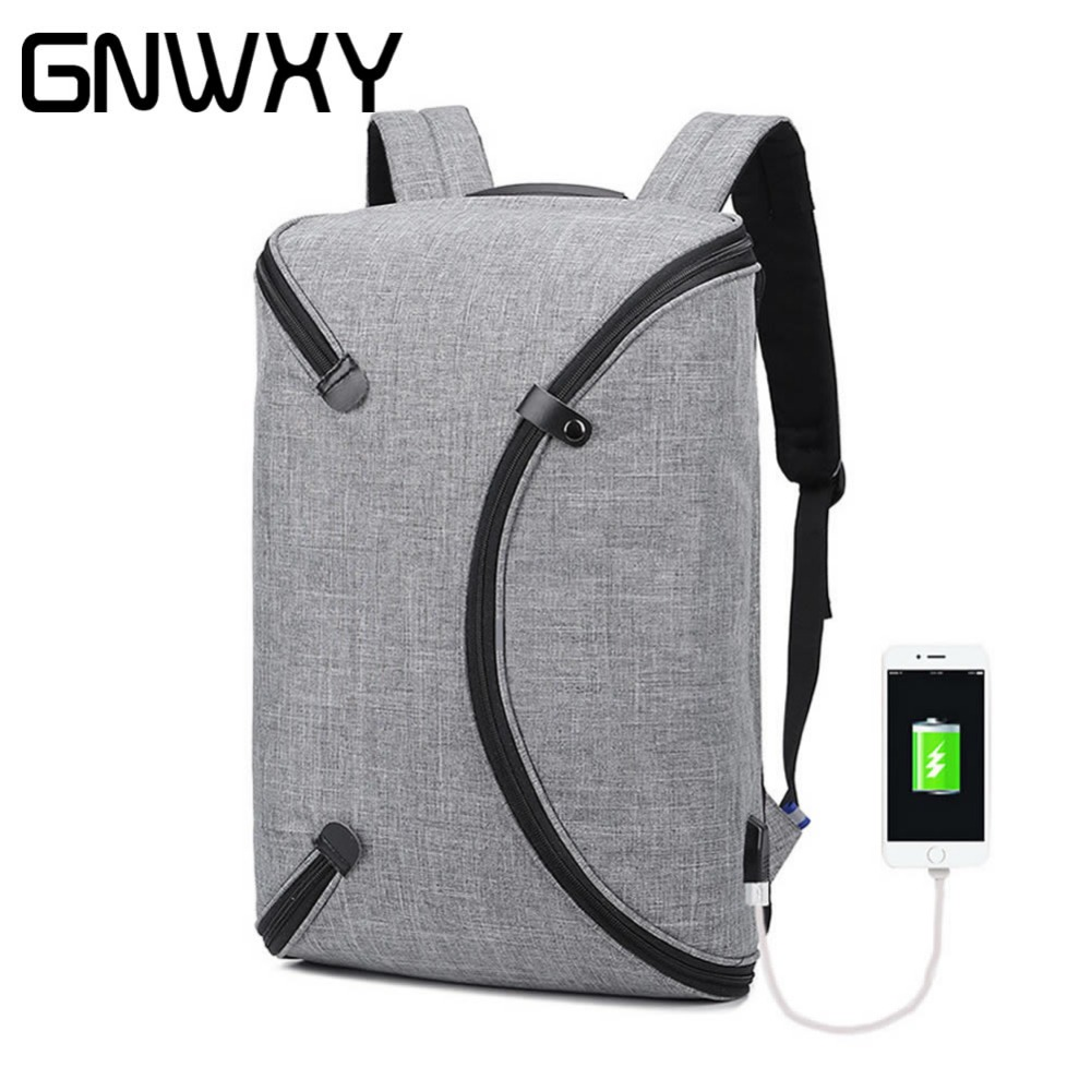 Unique Design Square Bagpack Men USB Charging Travel Business Laptop Backpack Large Capacity Stundet Daypack waterproof Backbag